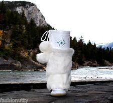 AUTHENTIC CANADIAN MUKLUKS WHITE LEATHER WHITE RABBIT FUR