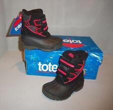 Totes Boy's/Girl's Toddler Black Red Kitty Winter Snow Boots Velcro SIZES! NIB
