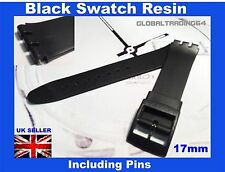 17mm BLACK RESIN SWATCH WATCH STRAP INCLUDING PINS