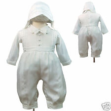 White Rompers for Baby Toddler Boy Christening Easter Baptism with bonnet 0-30M