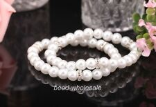 New arrival White/Black imitate pearl with glass crystal elastic Bangle Bracelet