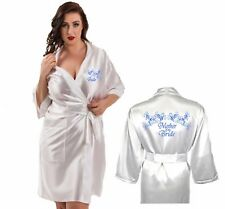 Personalised Wedding Robe Satin Dressing Gown / Wrap Honeymoon, Wedding, Spa