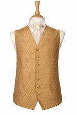 MENS BOYS DESIGNER GOLD SILK WEDDING DRESS SUIT WAISTCOAT 34 36 38 40 42 44 46