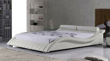 Exclusive European Designer Bed Finished in Black / White Faux Leather  - ND2
