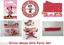 MINNIE MOUSE GIRLS BIRTHDAY PARTY RED WHITE CAKE TOPPER RIBBON BAGS TABLECLOTH