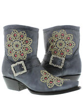 WOMEN'S LADIES BLUE SHORT LEATHER ANKLE COWBOY BOOTS WESTERN RODEO RHINESTONES