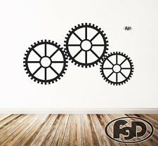 Wall Decal Sticker Removable Gears, steam punk, cog wheels in white or black