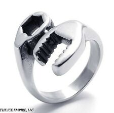 14MM WOMEN LADIES 316L STAINLESS STEEL METALLIC SILVER WRENCH RING SIZE 5-13