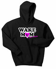 WAKE MOM HOODIE SWEAT SHIRT JUST RIDE JUMPER WAKE BOARD BOAT SKATE SURF MUM
