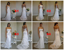 4 Styles V Neck Backless Mermaid Bridal Wedding Dresses  Lace Gowns Custom Made