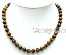 "SALE 4 to 14mm Round Brown Natural Tiger's Eye Beads 17"" NECKLACE -nec5648"
