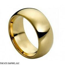 Mens Tungsten Carbide Ring Domed Gold-Plated Shiny Polish 9mm 5-12, 13 14 15