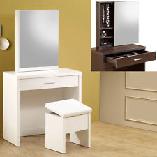 Modern White Cappuccino Hidden Mirror Jewelry Storage Lift-Top Stool Vanity Set