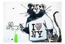 Banksy I love New York Rat  - iron on t shirt transfer or sticker