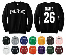 Country of Philippines Adult Crewneck Sweatshirt Personalized Name & Number