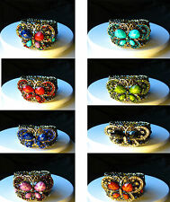 Vintage Silver Tone Butterfly Cuff Diamante Bangle Bracelet in 8 Colours -choose