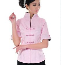 CF pink white Top chinese silk women's jacket/T-shirts blouse sz:6.8.10.12.14.16