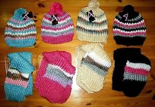 Ladies Girls Chunky Knit Bobble Hat &  Hat & scarf Set Super soft Warm Cosy BNWT