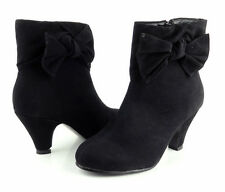 """Ankle Boots Black Comfort Platform Bow Faux Suede Cute Womens 3"""" High Heels"""