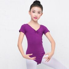 95%Cotton Short-sleeve Girl's Ballet Gymnastics Skating Leotard 6 Sizes 5 Colors