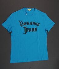 VERSACE JEANS Men Azzurro Astro Blue Crew-neck T-Shirts NEW NWT