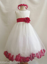 IVORY RED  ROSE PETAL SASH COLOR BRIDAL WEDDING PARTY PAGEANT FLOWER GIRL DRESS