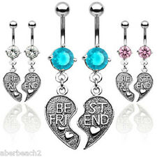 316L Surgical Steel Heart Charm Best Friend Pendent Dangle Belly Navel Ring