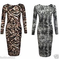 WOMENS LADIES LONG SLEEVE LEOPARD ANIMAL ZEBRA PRINT MIDI LENGTH MAXI DRESS TOP