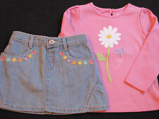 NWT GYMBOREE BUTTERFLY BLOSSOMS 2PC SET Size 18-24 m 3T 4T Jean Skirt Pink Top
