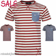 NEW MENS SOUL STAR NAUTICAL STRIPED SAILOR STYLE T-SHIRT TOP RED BLUE S M L XL