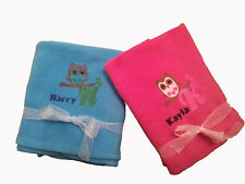 Personalised Embroidered Baby Fleece Blanket Newborn Gift Owl Design
