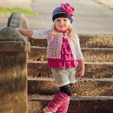 Melondipity Navy Blue Striped Baby Girl Hat With Pink Flower - Cute Beanie