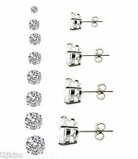 Silver Clear Round Cubic Zirconia CZ Surgical Stainless Steel Stud Earrings