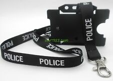 POLICE LANYARD Id warrant card holder BLUE OR BLACK neck strap photo identity