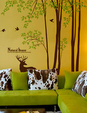 "98"" Tall Large Tree Wall Decals Birds Deer Removable Vinyl Home Decor Stickers"