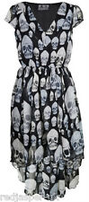 EVIL POIZEN GHOST DRESS LADIES GIRLS WOMEN GREY BLACK SKULL DRESS