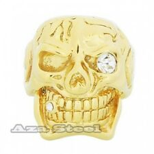 Men's 18K Yellow Gold Plated CZ Skull Cigar Stainless Steel Ring Size 11,12,13