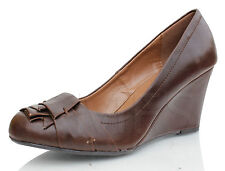 City Classified Brown Leatherette Closed Toe Low Wedge Adapt