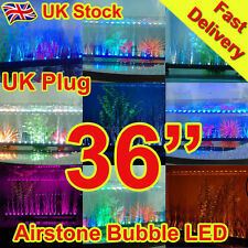 "36"" Aquarium Fish Tank Airstone Bubble LED Light Blue White Purple Yellow Multi"