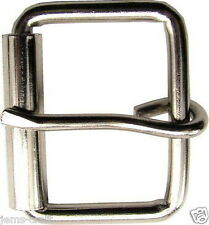 SILVER BELT BUCKLE LEATHER SNAP ON BELT PLAIN SHINY METAL ROLLER