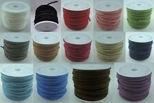 14 Colours 3mm Faux Suede Cord 10 Meter Rolls  for Jewellery Making and Crafts
