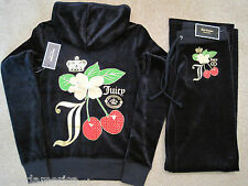 NWT Juicy Couture Regal Blue Cherry Velour Hoodie Pant Tracksuit Set XS S M $276