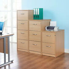 Wooden Home Office Furniture Tough Filing Cabinet With Metal Handles Beech New