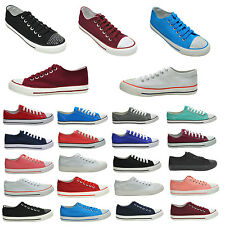 LADIES NEW ALL COLOURS LACE UP PLIMSOLLS GIRLS FLAT CANVAS PUMPS SHOES SIZE 2-8