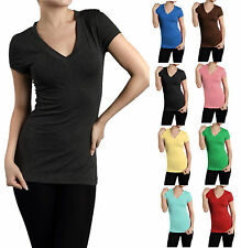 SHORT SLEEVE V NECK Basic Plain Tee shirt Top Tight Fitted Junior Women