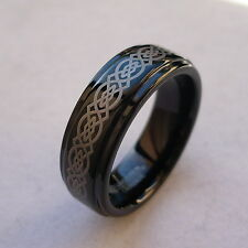 7mm TUNGSTEN CARBIDE CELTIC KNOT BLACK FINISH  MEN'S WEDDING BAND RING SIZE 5-15