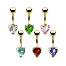 GOLD PLATED HEART SHAPED GEM NAVEL BELLY BAR RING CRYSTAL DANGLE