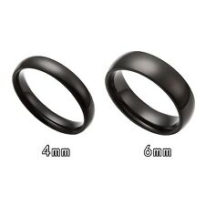 4MM 6MM Black Stainless Steel Comfort Fit Ring Size 6-13.5 Half Size USA Seller