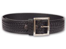 Perfect Fit Basketweave Garrison Belt 1 3/4 inch - Black w/ Silver
