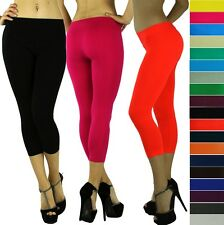 Women's Sexy Seamless Opaque Cropped Capri Leggings Tights